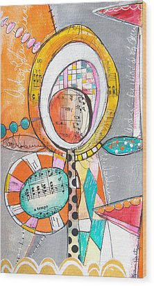 Circus Two Wood Print by Karin Husty