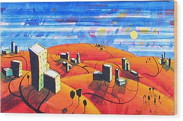 Cities And Towns Wood Print by Rollin Kocsis