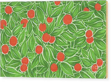 Citrus Pattern Wood Print