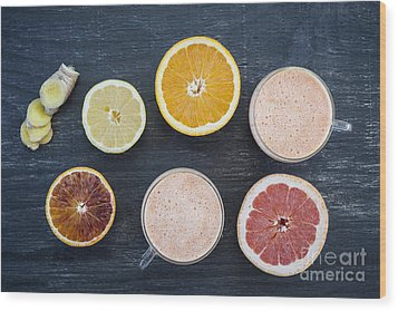 Citrus Smoothies Wood Print by Elena Elisseeva