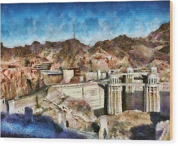 City - Nevada - Hoover Dam Wood Print by Mike Savad
