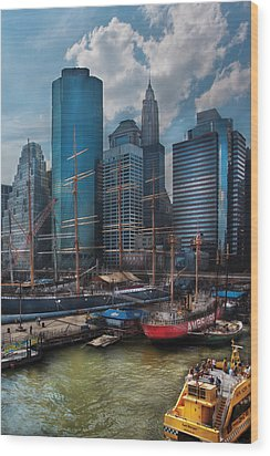 City - Ny - The New City Wood Print by Mike Savad