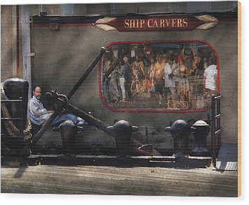 City - Ny South Street Seaport - Ship Carvers Wood Print by Mike Savad