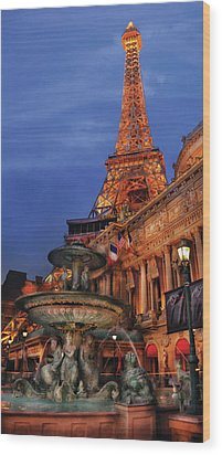 City - Vegas - Paris - Academie Nationale - Panorama Wood Print by Mike Savad
