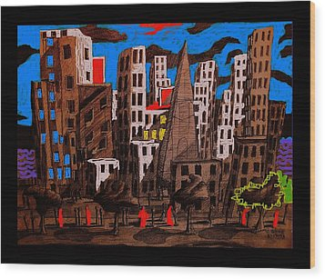 City - Abstraction Wood Print by Chris Boone