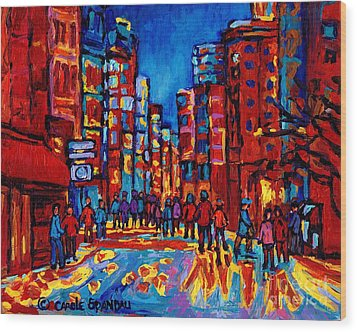 City After The Rain Wood Print by Carole Spandau
