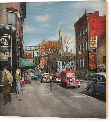 Wood Print featuring the photograph City - Amsterdam Ny - Downtown Amsterdam 1941 by Mike Savad