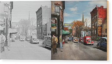 Wood Print featuring the photograph City - Amsterdam Ny - Downtown Amsterdam 1941- Side By Side by Mike Savad