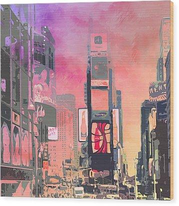 City-art Ny Times Square Wood Print