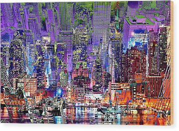 City Art Syncopation Cityscape Wood Print by Mary Clanahan