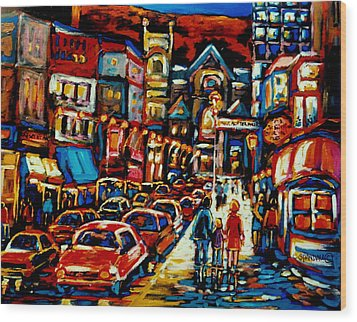 City At Night Downtown Montreal Wood Print by Carole Spandau