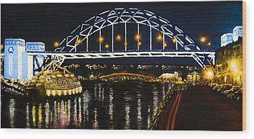 City At Night Wood Print by Svetlana Sewell