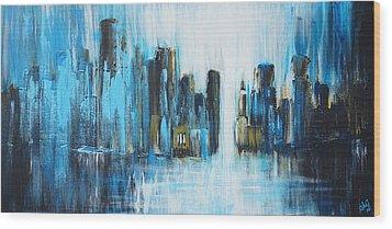 City Blues Wood Print by Theresa Marie Johnson