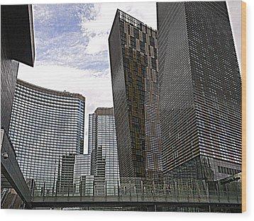 City Center At Las Vegas Wood Print by Karen J Shine