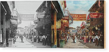 Wood Print featuring the photograph City - Coney Island Ny - Bowery Beer 1903 - Side By Side by Mike Savad