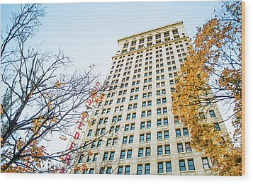 Wood Print featuring the photograph City Federal Building In Autumn - Birmingham, Alabama by Shelby Young