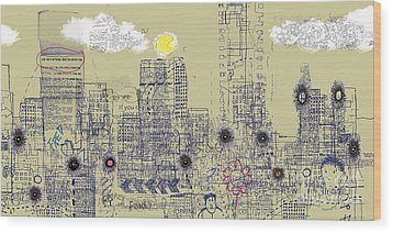 City Garden 4 Wood Print by Andy  Mercer