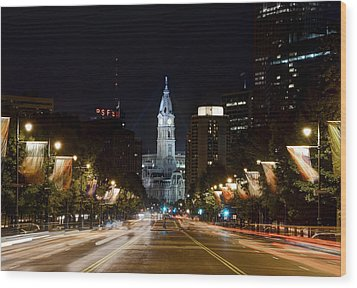 City Hall From The Parkway Wood Print by Jennifer Ancker