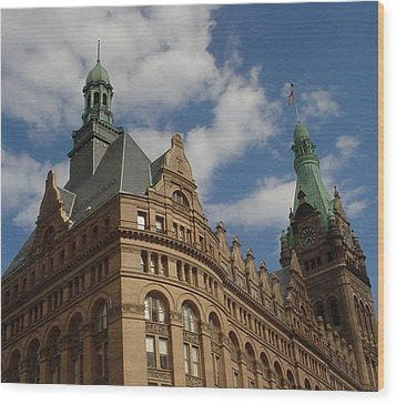 City Hall Roof And Tower Wood Print by Anita Burgermeister
