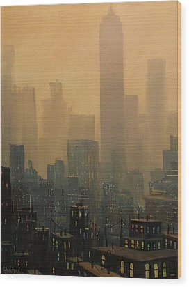 City Haze Wood Print by Tom Shropshire