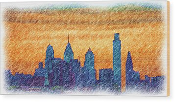 City In Pencil Wood Print by Thomas  MacPherson Jr