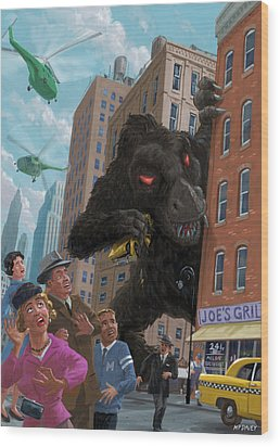 Wood Print featuring the digital art City Invasion Furry Monster by Martin Davey