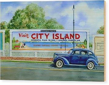 City Island Billboard Wood Print by Marguerite Chadwick-Juner