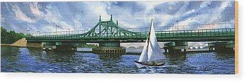 City Island Bridge Summer Wood Print by Marguerite Chadwick-Juner