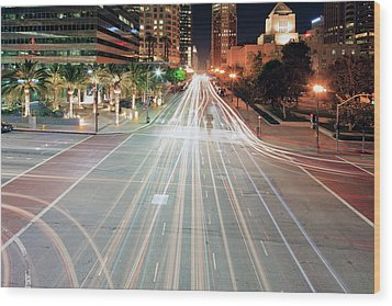 City Light Trails On Street In Downtown Wood Print by Eric Lo