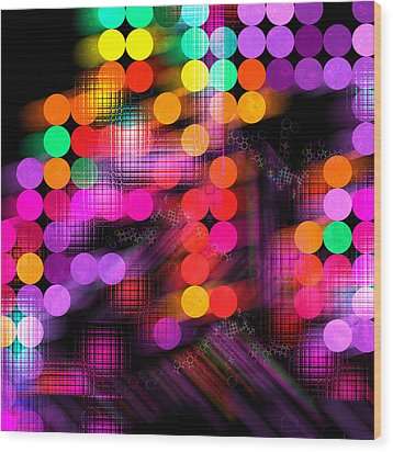 Wood Print featuring the digital art City Lights by Fran Riley