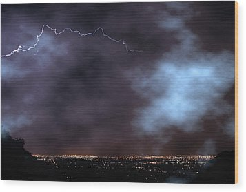 Wood Print featuring the photograph City Lights Night Strike by James BO Insogna