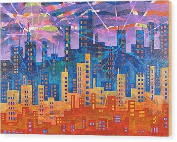 City Lights Wood Print by Rollin Kocsis
