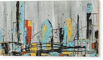 Wood Print featuring the painting City Limits by Carmen Guedez