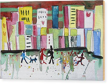 City Love Wood Print by Mindy Newman