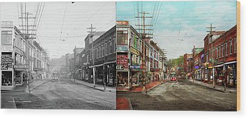 Wood Print featuring the photograph City - Ma Glouster - A Little Bit Of Everything 1910 - Side By Side by Mike Savad