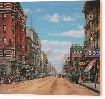 Wood Print featuring the photograph City - Memphis Tn - Main Street Mall 1909 by Mike Savad