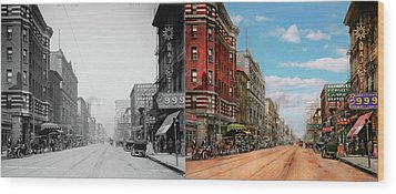 Wood Print featuring the photograph City - Memphis Tn - Main Street Mall 1909 - Side By Side by Mike Savad
