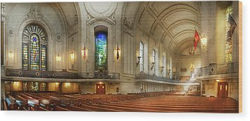 Wood Print featuring the photograph City - Naval Academy - God Is My Leader by Mike Savad
