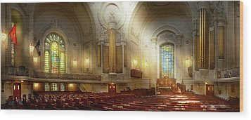 Wood Print featuring the photograph City - Naval Academy - The Chapel by Mike Savad