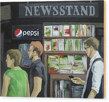 Wood Print featuring the painting City Newsstand - People On The Street Painting by Linda Apple