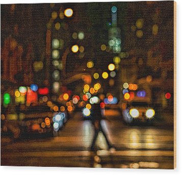 City Nights, City Lights Wood Print