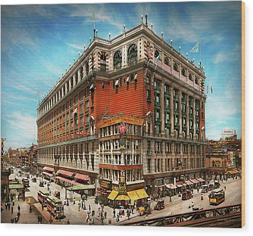 Wood Print featuring the photograph City - Ny New York - The Nation's Largest Dept Store 1908 by Mike Savad