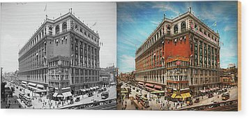 Wood Print featuring the photograph City - Ny New York - The Nation's Largest Dept Store 1908 - Side by Mike Savad