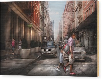 City - Ny - Walking Down Mercer Street Wood Print by Mike Savad
