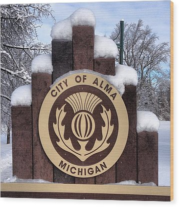 City Of Alma Michigan Snow Wood Print