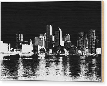 City Of Boston Skyline   Wood Print by Enki Art