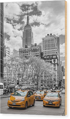 City Of Cabs Wood Print