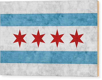 Wood Print featuring the mixed media City Of Chicago Flag by Christopher Arndt