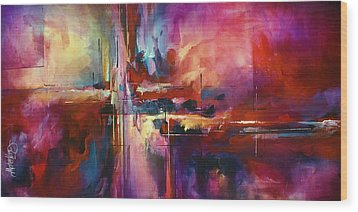 'city Of Fire' Wood Print by Michael Lang