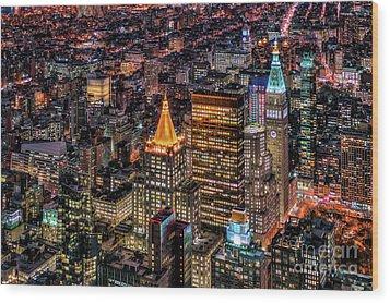 City Of Lights - Nyc Wood Print by Rafael Quirindongo